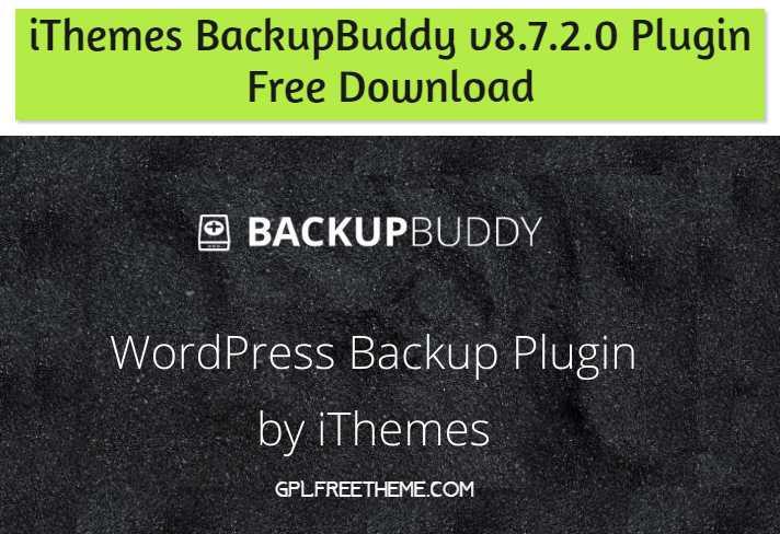iThemes BackupBuddy 8.7.2.0 Plugin Free Download