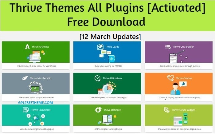 Thrive Themes All Plugins Free Download [12 March Updates] [Activated]