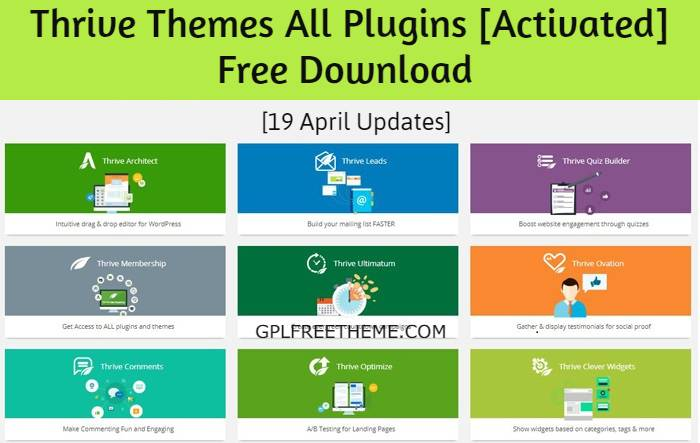 Thrive Themes All Plugins Free Download [19 April Updates] [Activated]