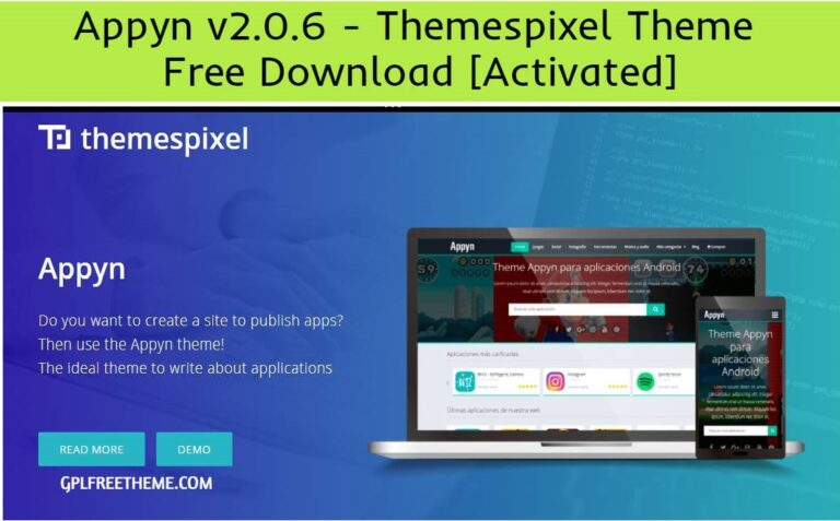 Appyn v2.0.6 - Themespixel WordPress Theme Free Download [Activated]