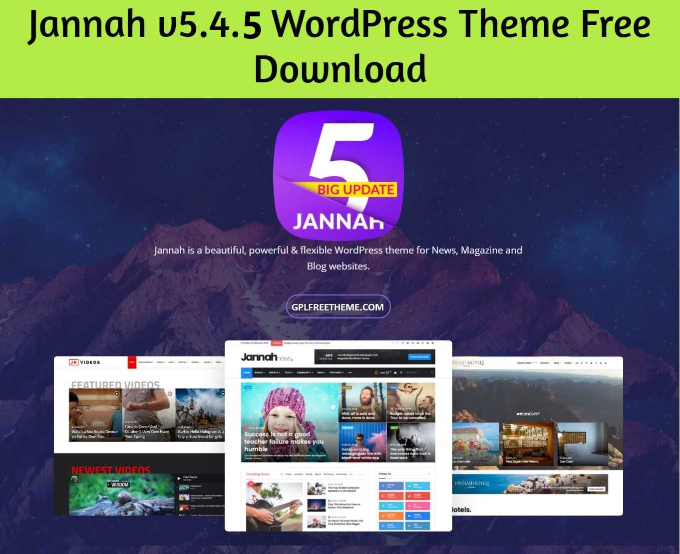 Jannah 5.4.5 WordPress Theme Free Download [Activated]